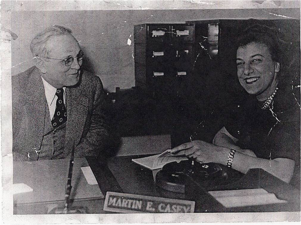 Margaret Mater at work with her boss, Mr Casey at Marquette University 1945