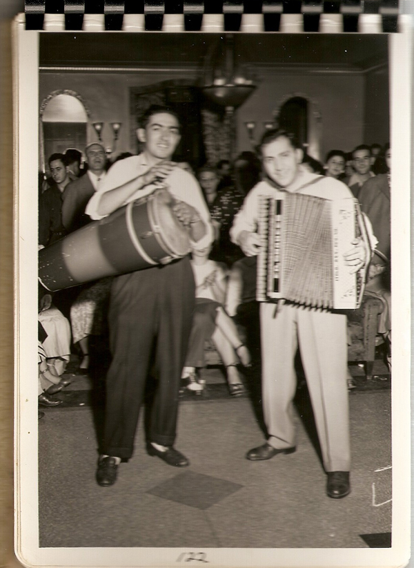 Syrian men playing music in 1950s